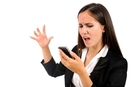 angry women: Isolated young business woman screaming at phone Stock Photo