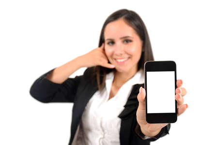 Isolated young business woman call gesture Stock Photo - 15387835