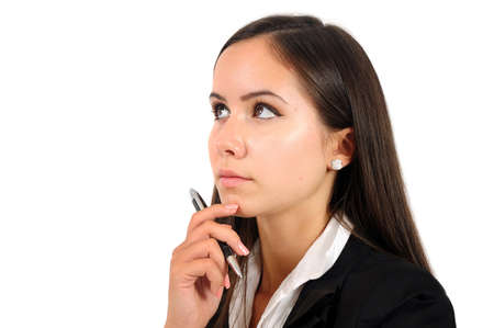 Isolated young business woman thinking Stock Photo - 15387676