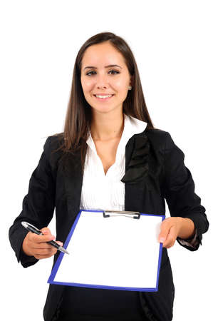 Isolated young business woman with notepad photo