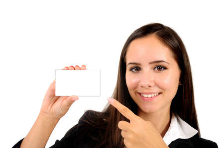 Isolated young business woman presenting card photo