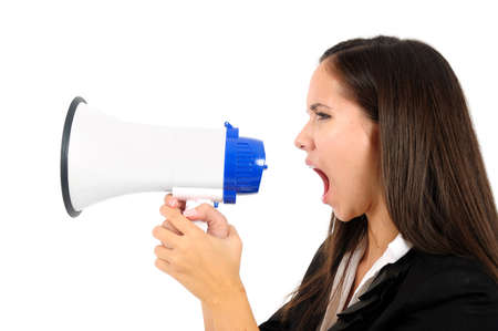 Isolated young business woman screaming with loudspeaker Stock Photo - 15387682