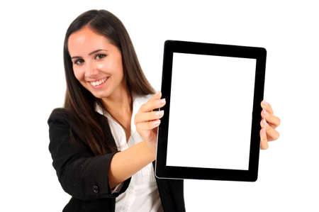 Isolated young business woman showing tablet photo