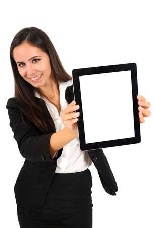 Isolé jeune femme d'affaires montrant comprimé Banque d'images