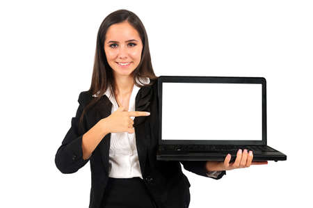 Isolated young business woman presenting laptop Stock Photo - 15387776