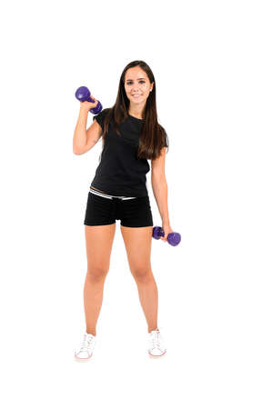 Isolated brown hair fitness woman Stock Photo - 15387910