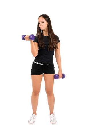 krachtige vrouw: Geïsoleerde bruin haar fitness vrouw Stockfoto