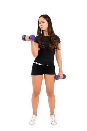 Isolated brown hair fitness woman Stock Photo - 15387853