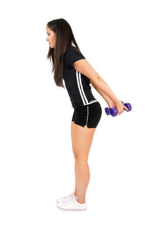 Isolated brown hair fitness woman Stock Photo - 15387999