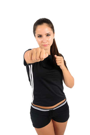 tough girl: Isolated brown hair fitness woman
