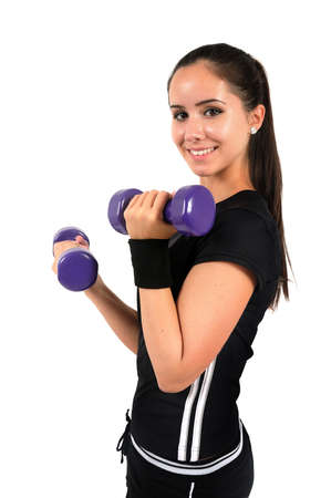 Isolated brown hair fitness woman photo