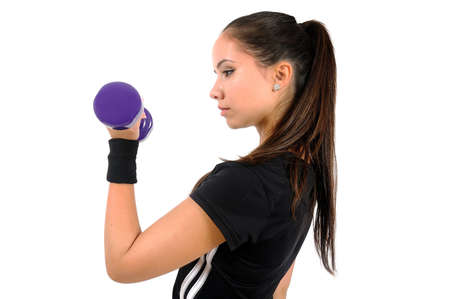 Isolated brown hair fitness woman Stock Photo - 15387675