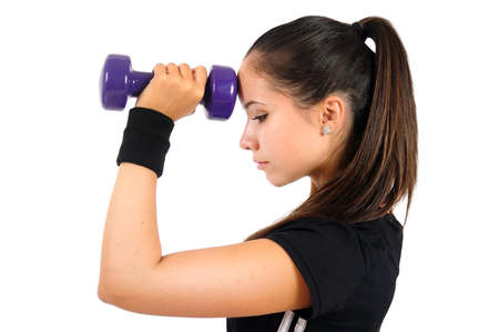 Isolated brown hair fitness woman Stock Photo - 15387642