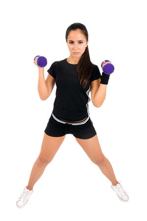 Isolated brown hair fitness woman Stock Photo - 15387782