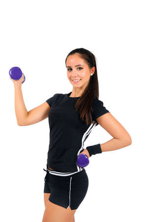 Isolated brown hair fitness woman Stock Photo - 15387809
