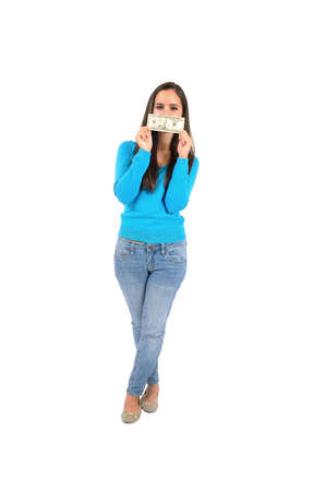 Isolated young casual girl cover mouth with dollar photo