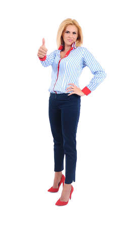 Isolated young business woman approval Stock Photo - 15465937