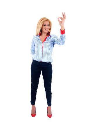 Isolated young business woman approval Stock Photo - 15465567