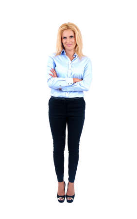 full strenght: Isolated young business woman standing