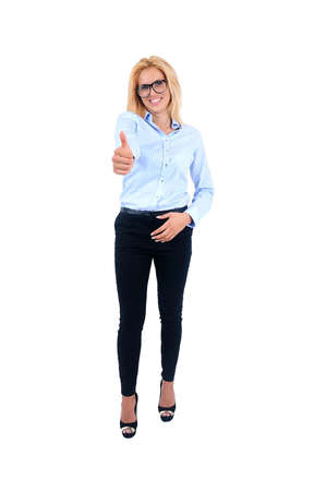 Isolated young business woman approval Stock Photo - 15465440