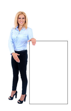 Isolated young business woman showing Stock Photo - 15465561