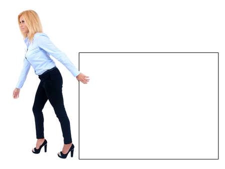Isolated young business woman pull something photo