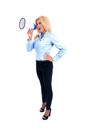 Isolated young business woman screaming megaphone Stock Photo - 15465453