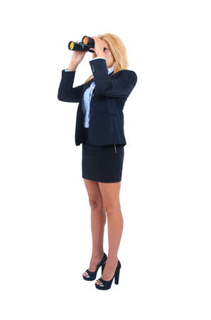 Isolated young business woman with binocular photo