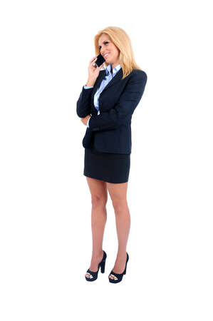 Isolated young business woman speaking phone Stock Photo - 15465450