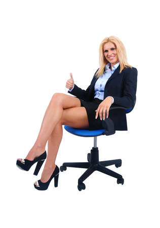 Isolated young business woman approval photo