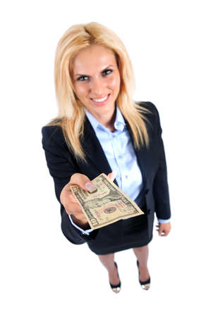 Isolated young business woman giving money photo