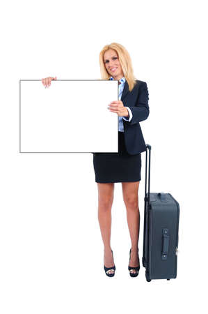 Isolated young business woman with luggage photo