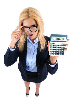 sexy business women: Isolated young business woman showing calculator
