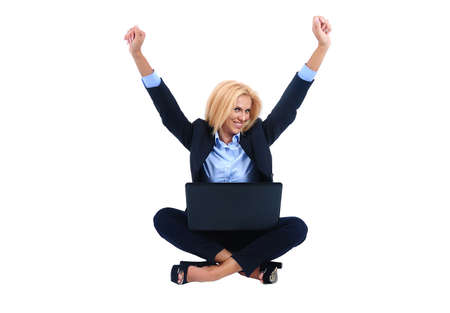 Isolated young business woman happy photo