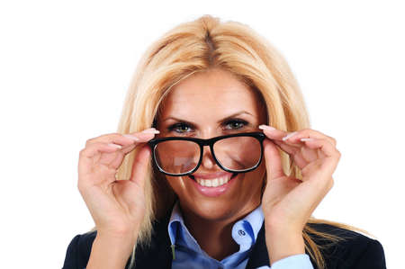 Isolated young business woman with eyeglasses photo