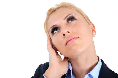 Isolated young business woman thinking Stock Photo - 15465981