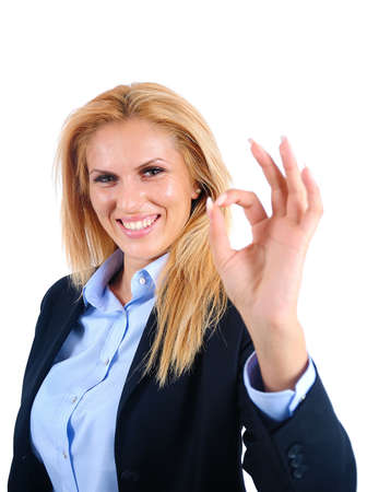Isolated young business woman approval Stock Photo - 15466060