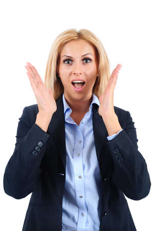 Isolated young business woman amazed Stock Photo - 15466061