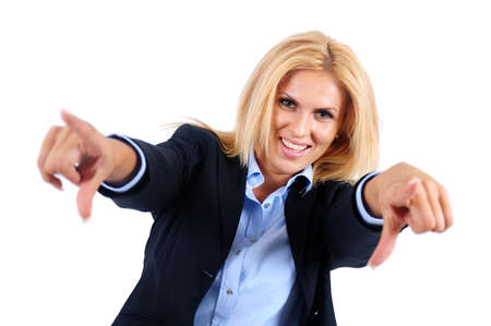 Isolated young business woman pointing camera photo