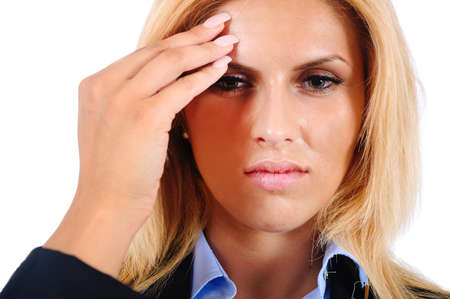 Isolated young business woman headache photo
