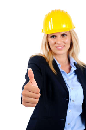 Isolated young worker woman approval Stock Photo - 15465961