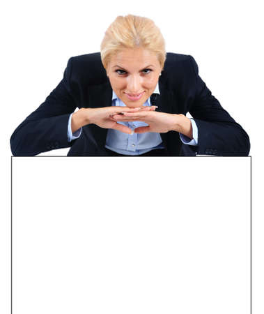 Isolated young business woman leaning something Stock Photo - 15466010