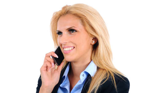Isolated young business woman speaking phone photo