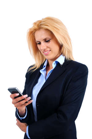 Isolated young business woman holding phone photo