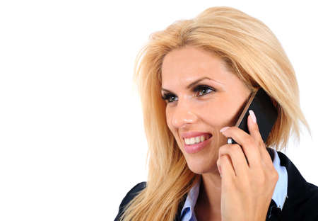 Isolated young business woman speaking phone Stock Photo - 15466033