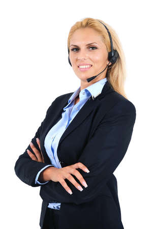 Isolated young business woman with headphone Stock Photo - 15466015