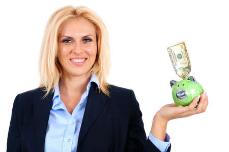 Isolated young business woman with piggybank photo