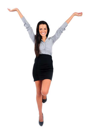 Isolated young business woman happy Stock Photo - 15649556