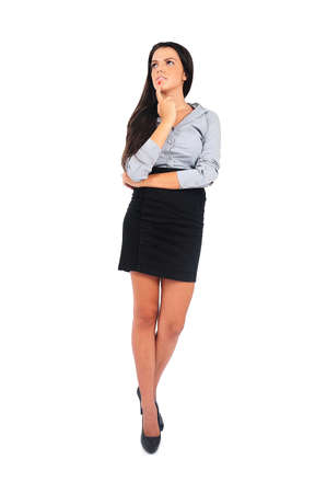 Isolated young business woman thinking Stock Photo - 15663919