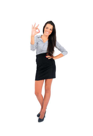 Isolated young business woman approval Stock Photo - 15644737